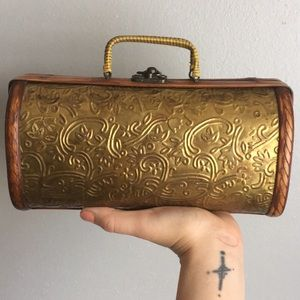 VTG Brass Wooden Box Purse Coachella Clutch OOAK